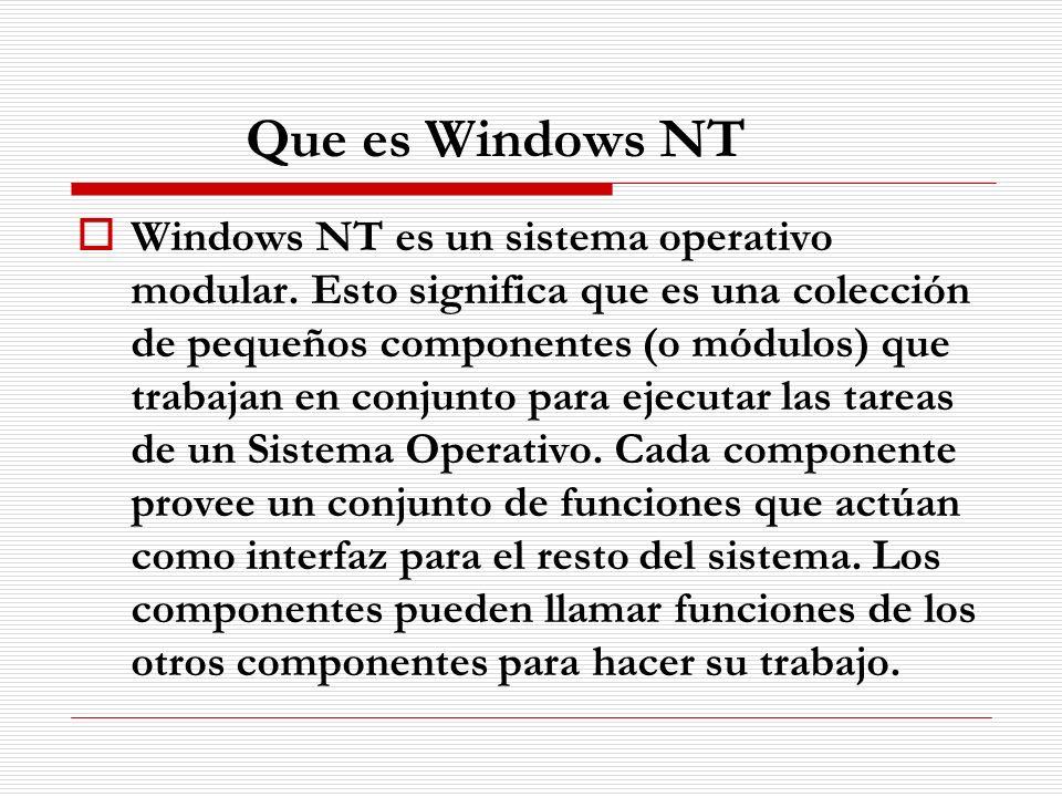 Partes del Sistema Operativo Windows NT Las partes principales del sistema operativo Windows NT son: Subsistemas de medio ambiente: Se encargan de ejecutar los programas escritos para Windows NT o para otros sistemas operativos soportados por NT.