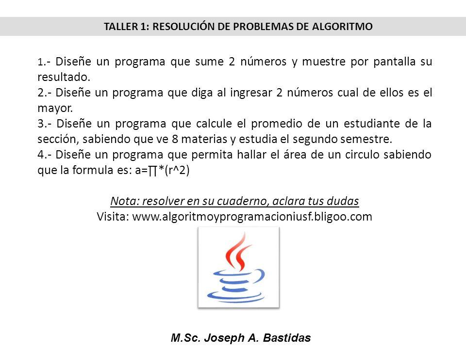 M.Sc. Joseph A. Bastidas TALLER 1: RESOLUCIÓN DE PROBLEMAS DE ALGORITMO 1.- Diseñe un programa que sume 2 números y muestre por pantalla su resultado.