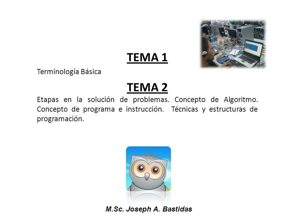 M.Sc. Joseph A. Bastidas TEMA 1 Terminología Básica TEMA 2 Etapas en la solución de problemas. Concepto de Algoritmo. Concepto de programa e instrucci