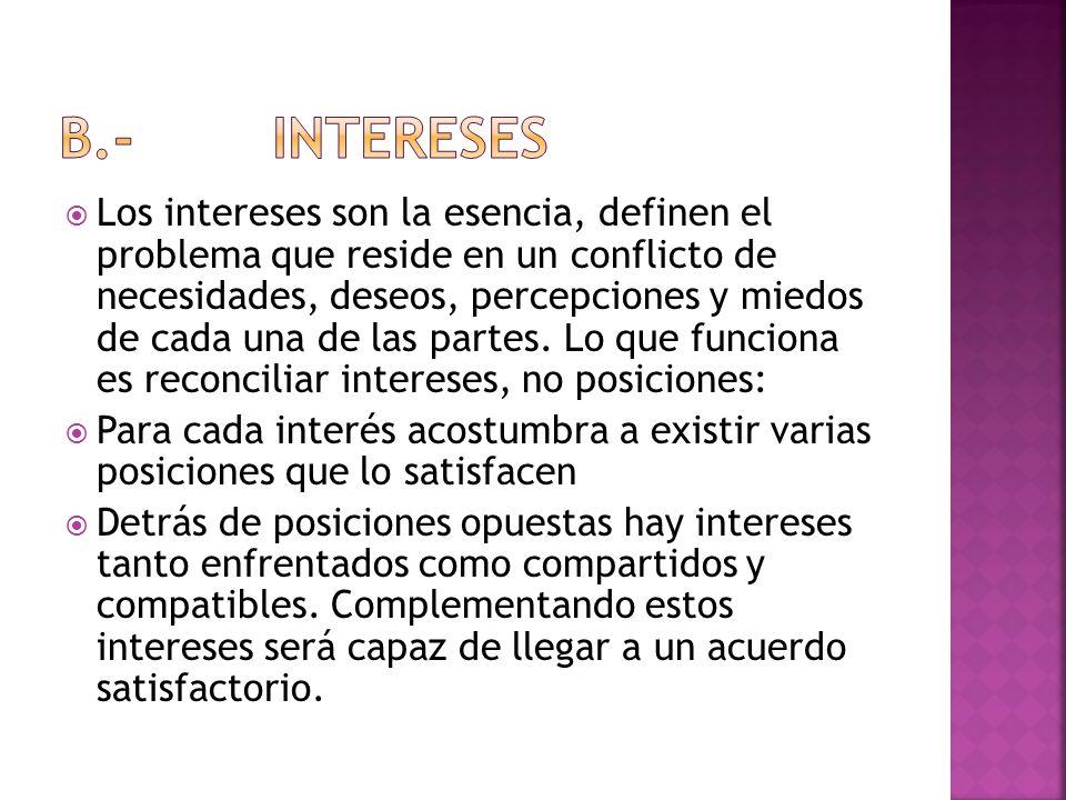 Los intereses son la esencia, definen el problema que reside en un conflicto de necesidades, deseos, percepciones y miedos de cada una de las partes.