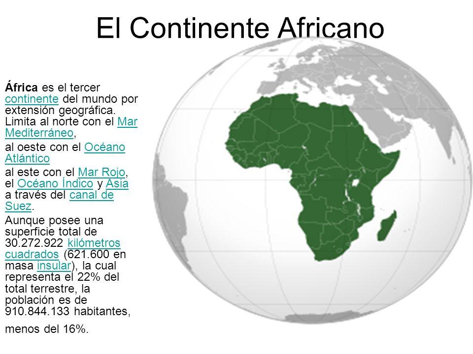 El Continente Africano África es el tercer continente del mundo por extensión geográfica. Limita al norte con el Mar Mediterráneo, continenteMar Medit