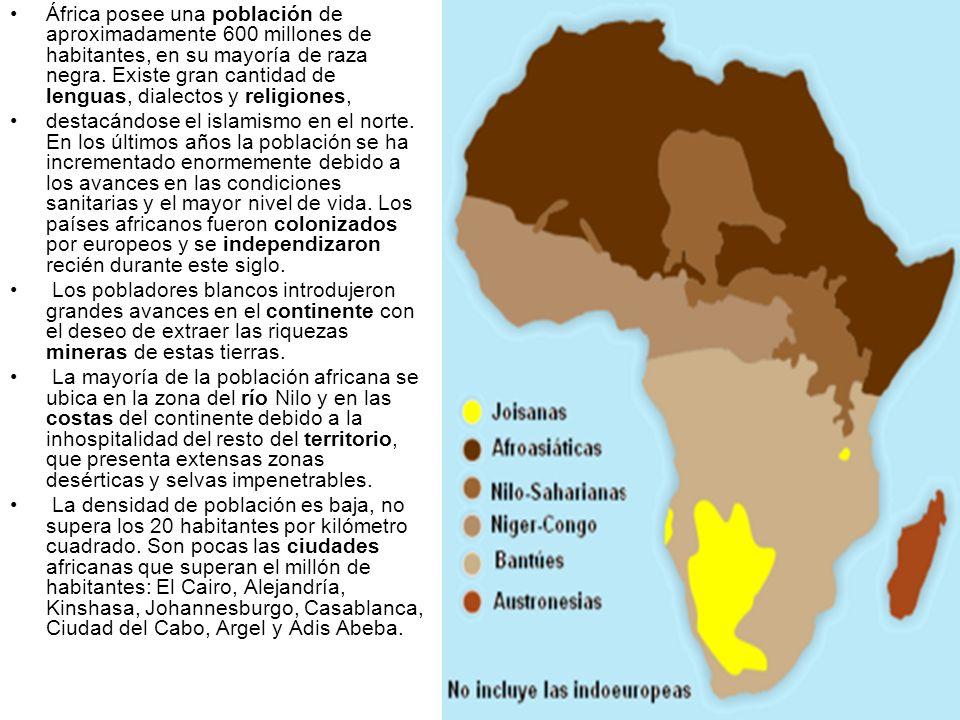 África posee una población de aproximadamente 600 millones de habitantes, en su mayoría de raza negra. Existe gran cantidad de lenguas, dialectos y re