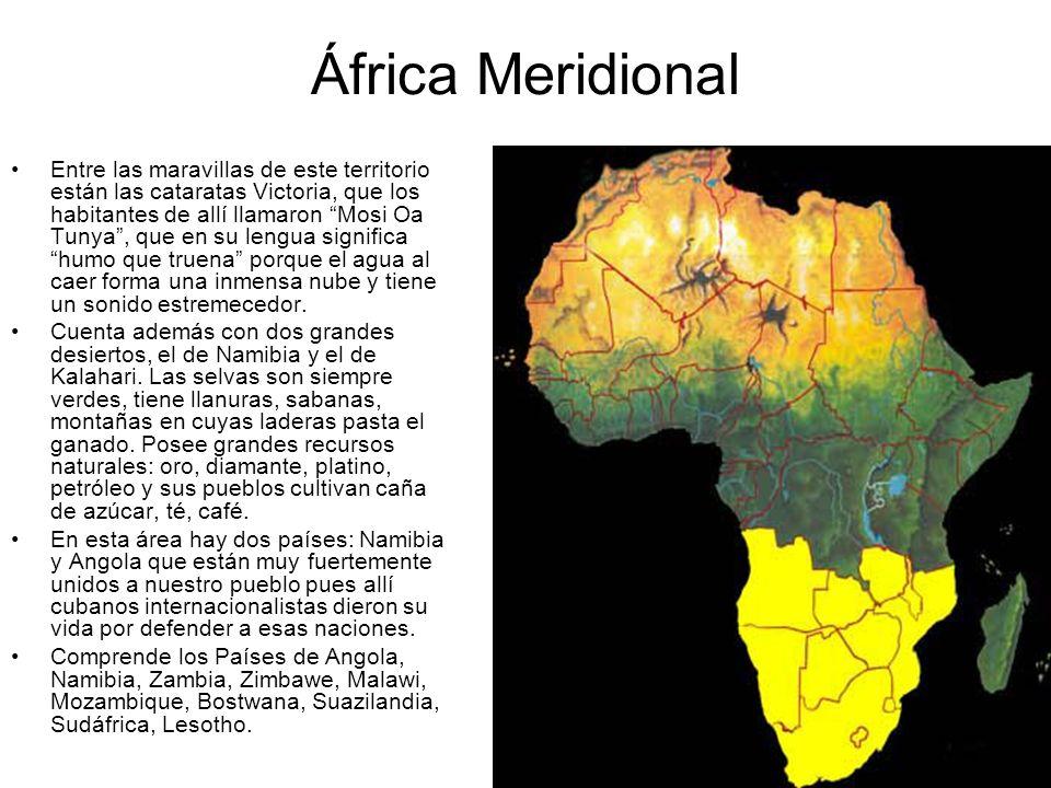 África Meridional Entre las maravillas de este territorio están las cataratas Victoria, que los habitantes de allí llamaron Mosi Oa Tunya, que en su l
