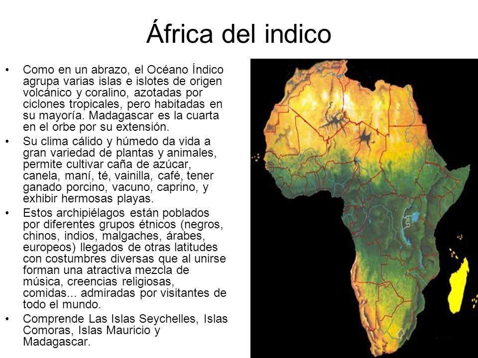 África del indico Como en un abrazo, el Océano Índico agrupa varias islas e islotes de origen volcánico y coralino, azotadas por ciclones tropicales,