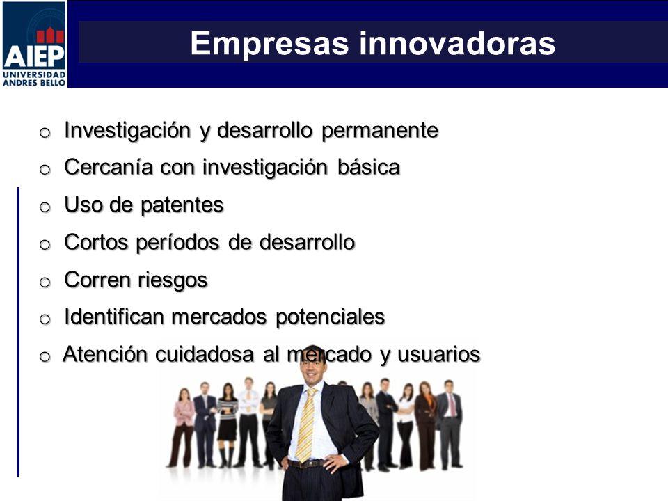 ESCUELA DE ADMINISTRACIÓN Y NEGOCIOS TALLER DE EMPRENDEDORES Empresas innovadoras o Investigación y desarrollo permanente o Cercanía con investigación