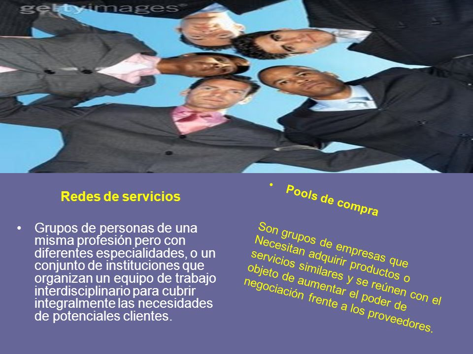 Redes de servicios Grupos de personas de una misma profesión pero con diferentes especialidades, o un conjunto de instituciones que organizan un equip