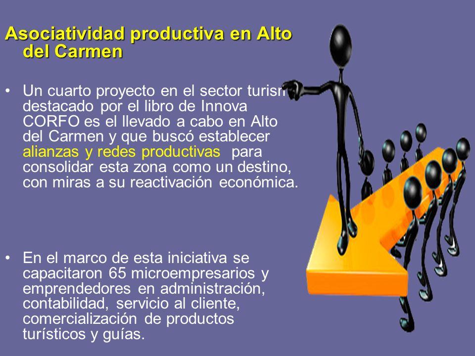 Asociatividad productiva en Alto del Carmen Un cuarto proyecto en el sector turismo destacado por el libro de Innova CORFO es el llevado a cabo en Alt