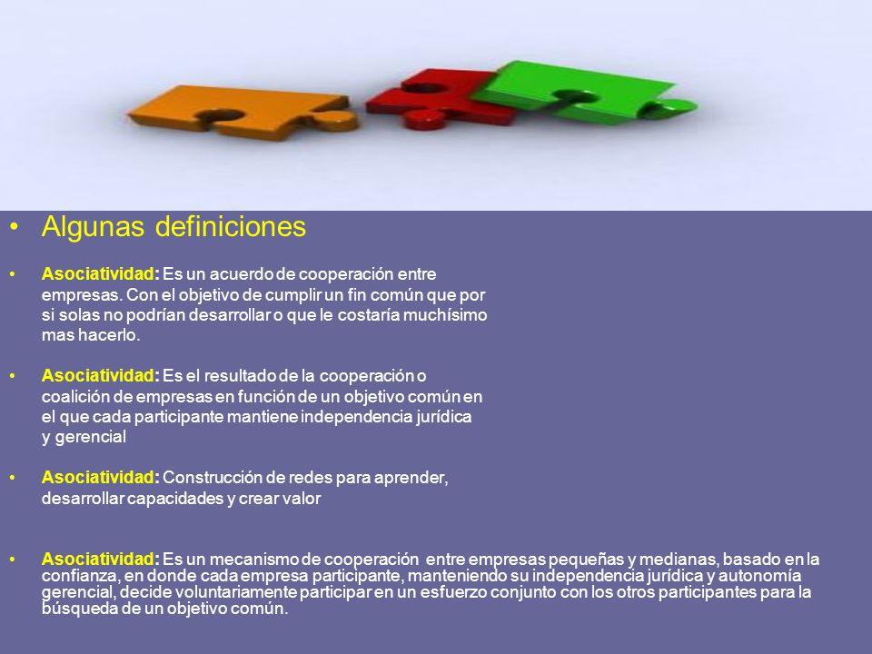 Algunas definiciones Asociatividad: Es un acuerdo de cooperación entre empresas. Con el objetivo de cumplir un fin común que por si solas no podrían d
