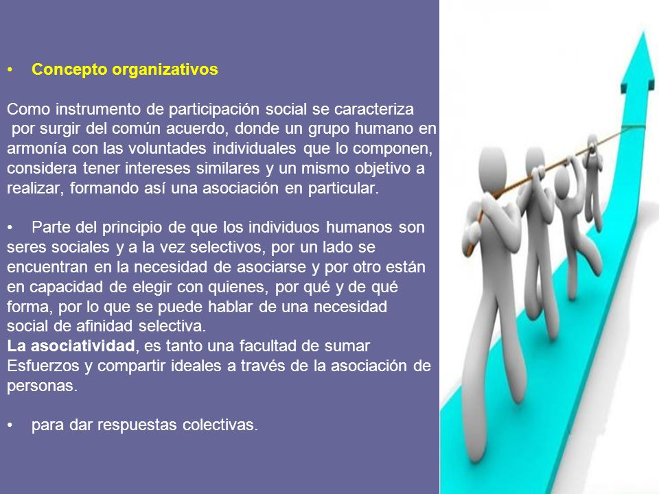 La asociatividad puede adoptar diversas modalidades, dependiendo del objetivo por el cual se produce.