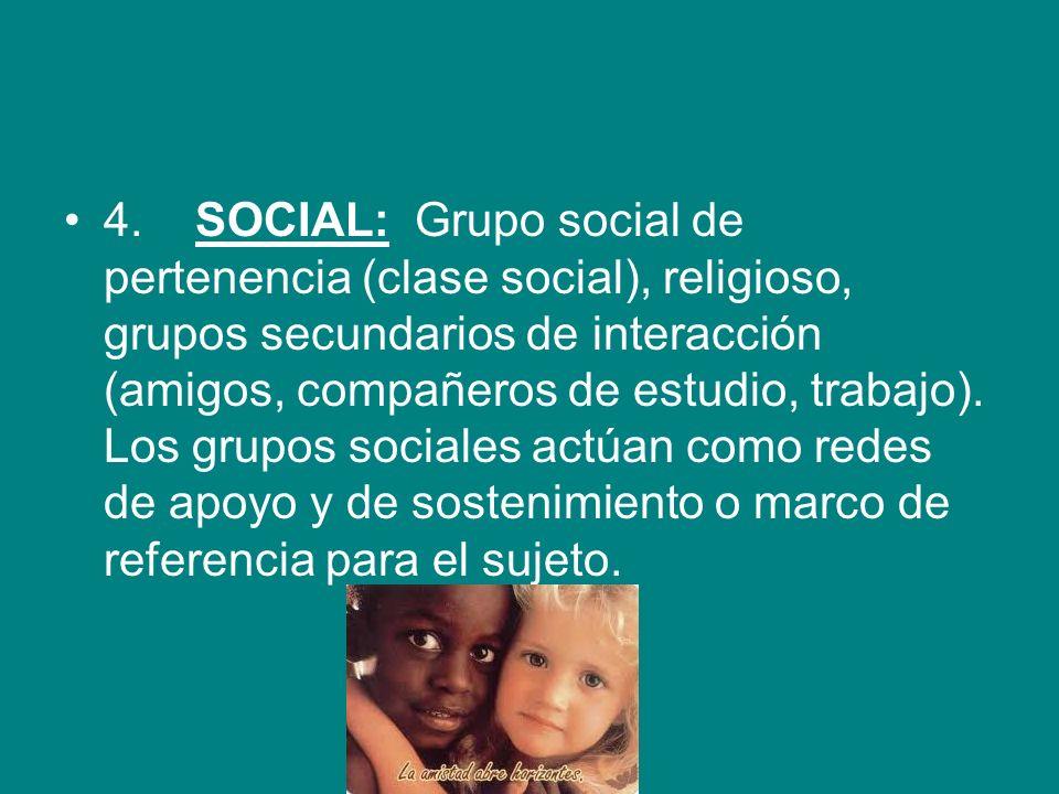 4. SOCIAL: Grupo social de pertenencia (clase social), religioso, grupos secundarios de interacción (amigos, compañeros de estudio, trabajo). Los grup
