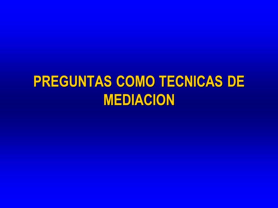 PREGUNTAS COMO TECNICAS DE MEDIACION
