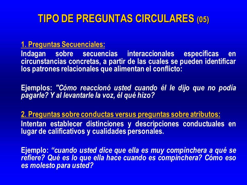 TIPO DE PREGUNTAS CIRCULARES (05) 1. Preguntas Secuenciales: Indagan sobre secuencias interaccionales específicas en circunstancias concretas, a parti