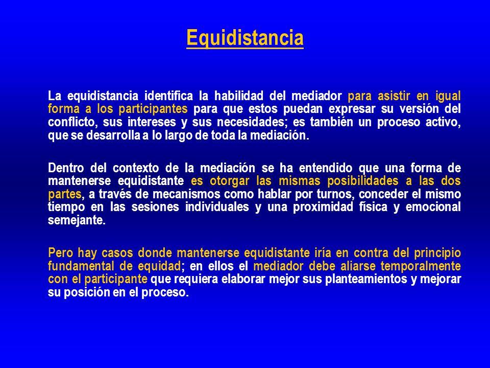 Equidistancia La equidistancia identifica la habilidad del mediador para asistir en igual forma a los participantes para que estos puedan expresar su
