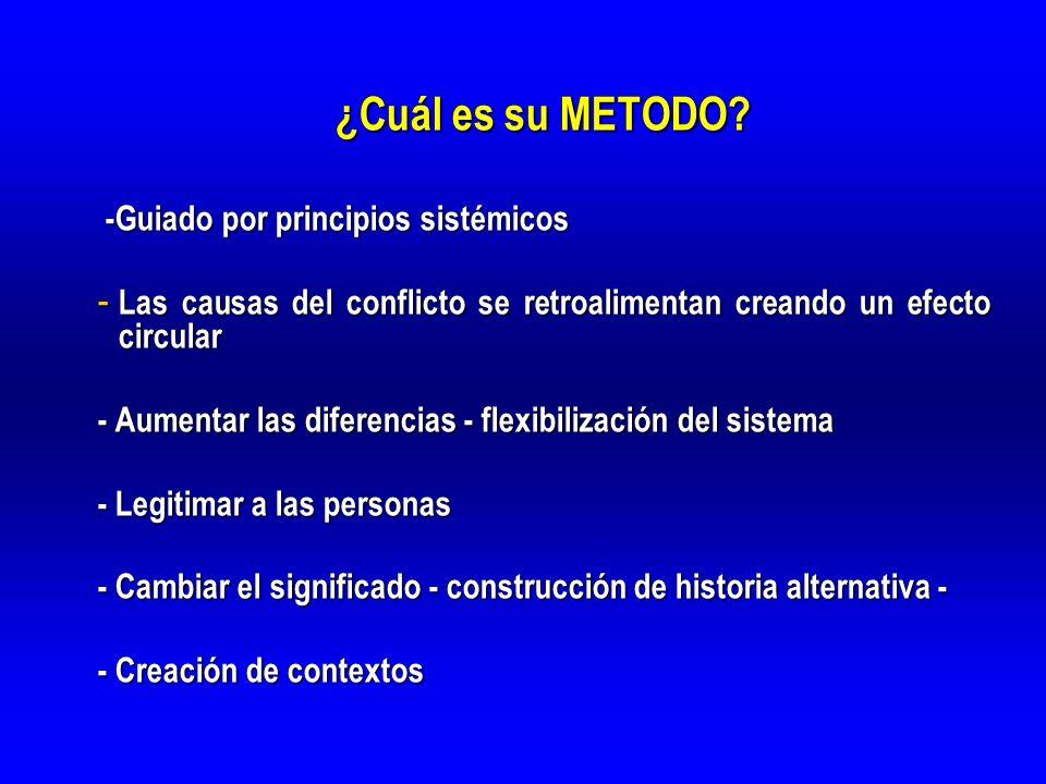 ¿Cuál es su METODO? -Guiado por principios sistémicos -Guiado por principios sistémicos - Las causas del conflicto se retroalimentan creando un efecto