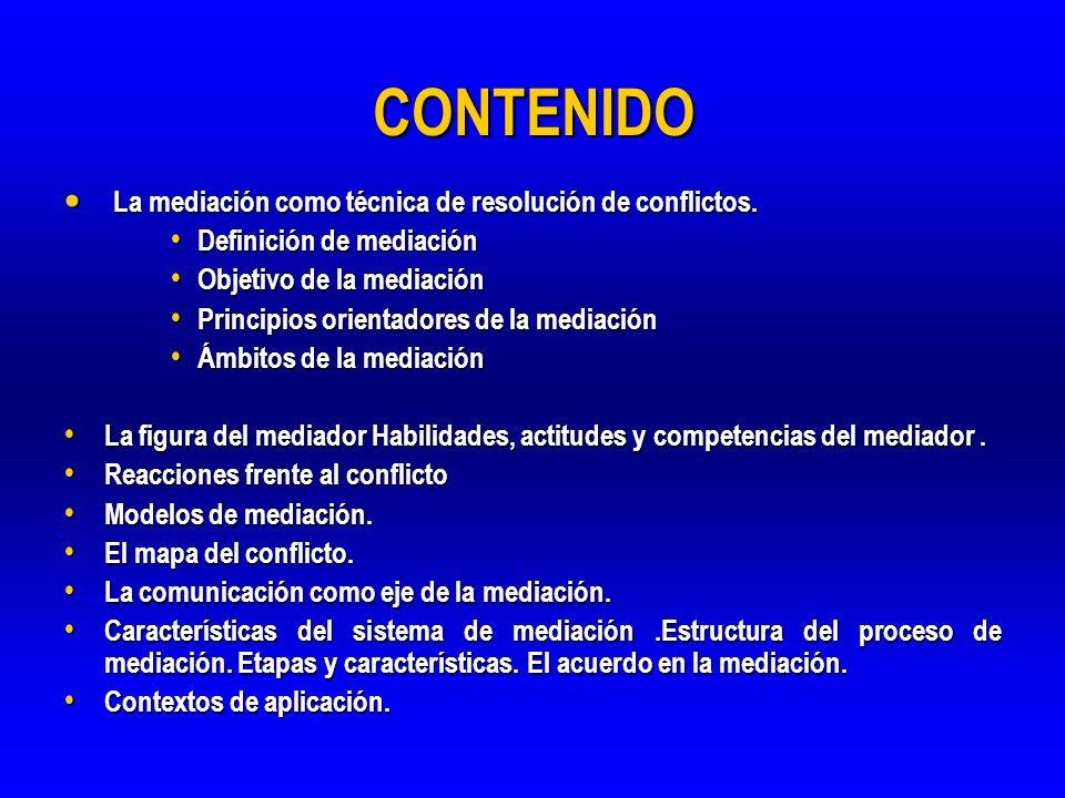 CONTENIDO La mediación como técnica de resolución de conflictos. La mediación como técnica de resolución de conflictos. Definición de mediación Defini