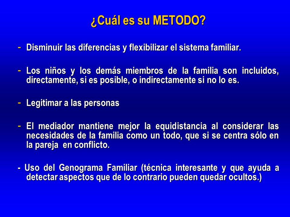 ¿Cuál es su METODO? - Disminuir las diferencias y flexibilizar el sistema familiar. - Los niños y los demás miembros de la familia son incluidos, dire