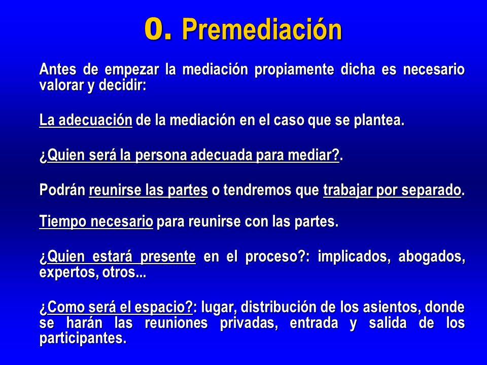 0. Premediación Antes de empezar la mediación propiamente dicha es necesario valorar y decidir: La adecuación de la mediación en el caso que se plante
