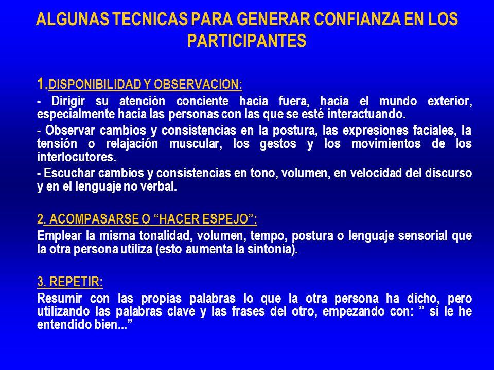 ALGUNAS TECNICAS PARA GENERAR CONFIANZA EN LOS PARTICIPANTES 1. 1. DISPONIBILIDAD Y OBSERVACION: - Dirigir su atención conciente hacia fuera, hacia el