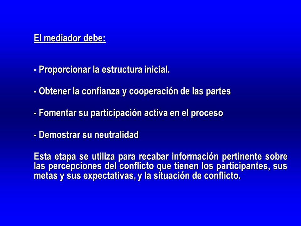 El mediador debe: Proporcionar la estructura inicial. - Proporcionar la estructura inicial. - Obtener la confianza y cooperación de las partes - Fomen
