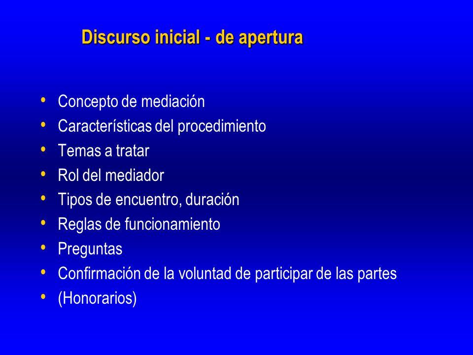 Discurso inicial - de apertura Concepto de mediación Características del procedimiento Temas a tratar Rol del mediador Tipos de encuentro, duración Re