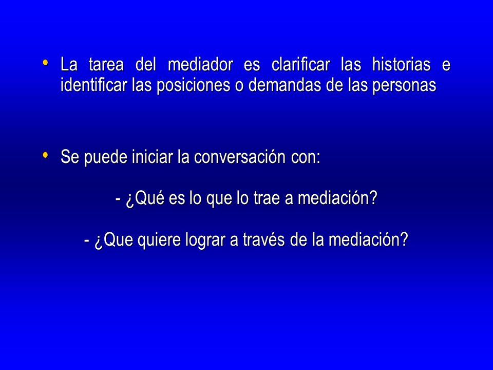 La tarea del mediador es clarificar las historias e identificar las posiciones o demandas de las personas La tarea del mediador es clarificar las hist
