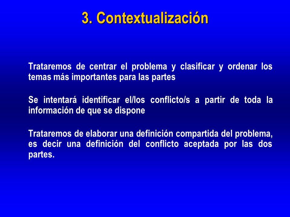 3. Contextualización Trataremos de centrar el problema y clasificar y ordenar los temas más importantes para las partes Se intentará identificar el/lo