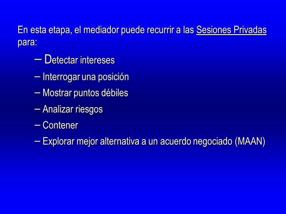 En esta etapa, el mediador puede recurrir a las Sesiones Privadas para: – D etectar intereses – Interrogar una posición – Mostrar puntos débiles – Ana
