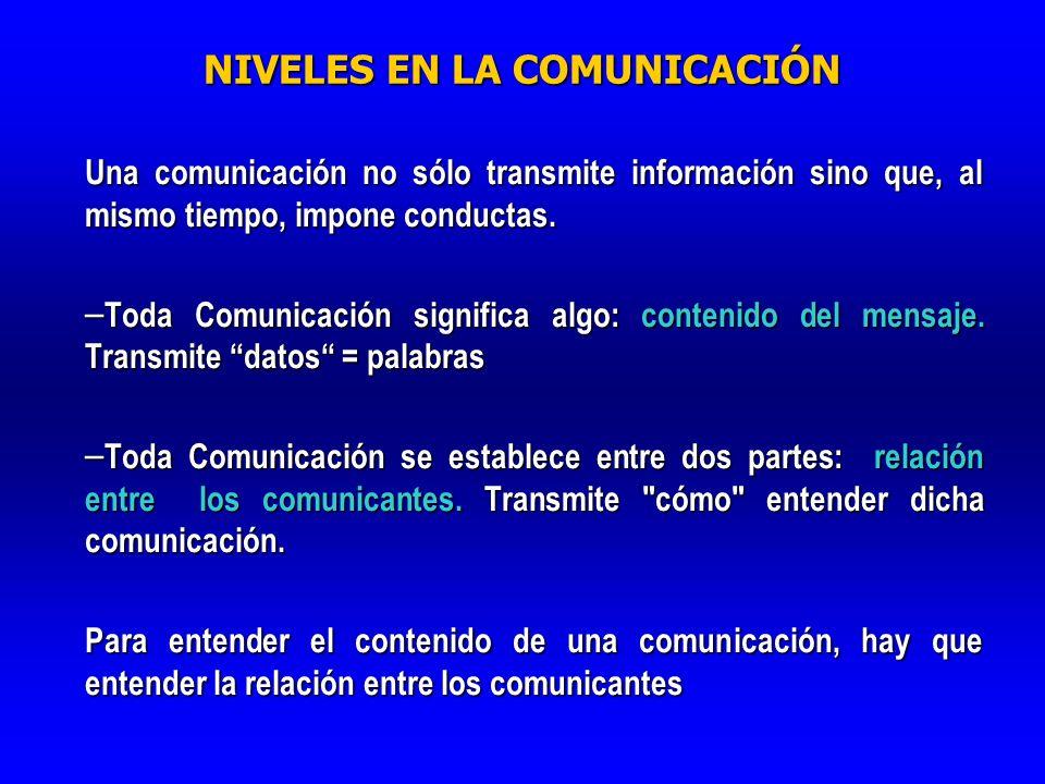 NIVELES EN LA COMUNICACIÓN Una comunicación no sólo transmite información sino que, al mismo tiempo, impone conductas. – Toda Comunicación significa a