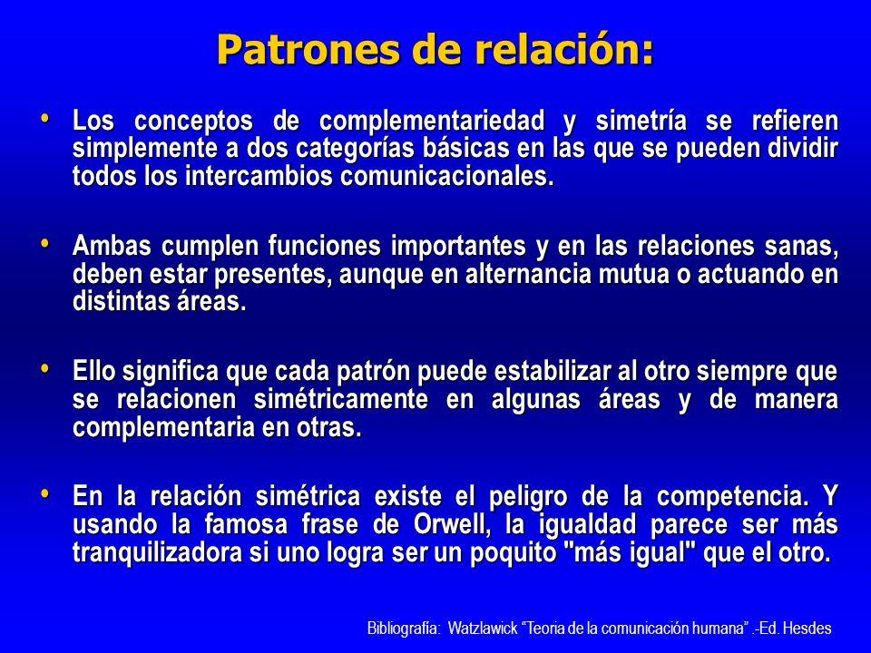 Patrones de relación: Los conceptos de complementariedad y simetría se refieren simplemente a dos categorías básicas en las que se pueden dividir todo