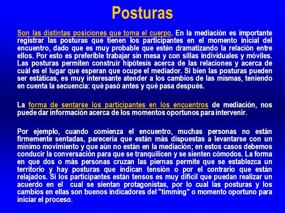 Posturas Son las distintas posiciones que toma el cuerpo. En la mediación es importante registrar las posturas que tienen los participantes en el mome