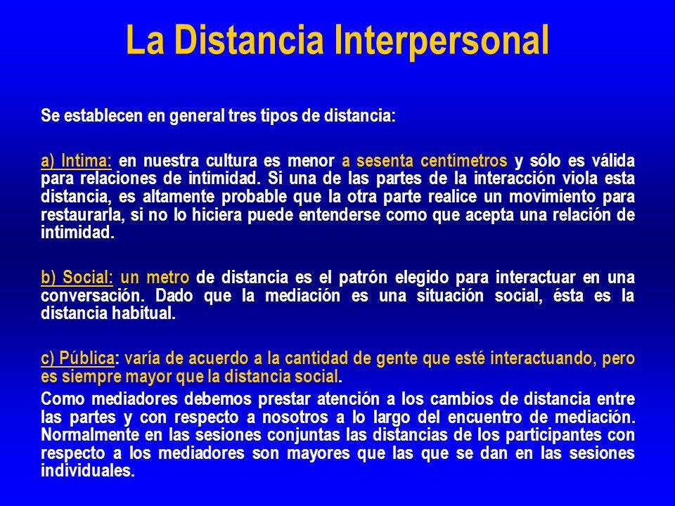 La Distancia Interpersonal Se establecen en general tres tipos de distancia: a) Intima: en nuestra cultura es menor a sesenta centímetros y sólo es vá