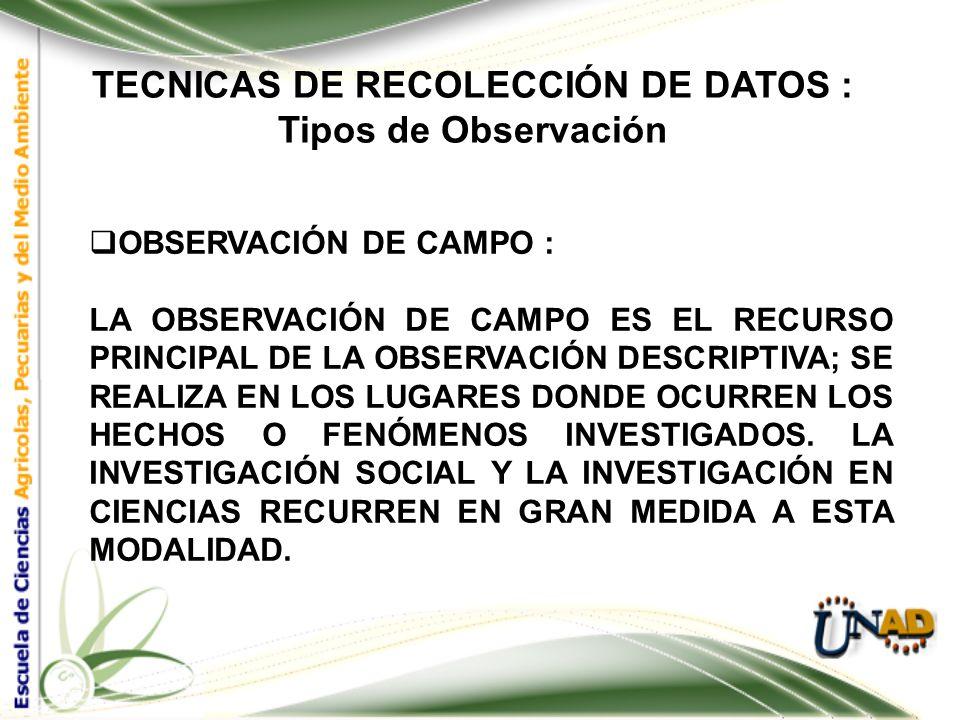 TECNICAS DE RECOLECCIÓN DE DATOS : Tipos de Observación OBSERVACIÓN PARTICIPANTE Y NO PARTICIPANTE: EN LA OBSERVACIÓN NO PARTICIPANTE, SE RECOGE LA IN