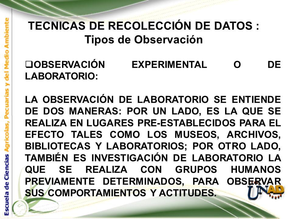 TECNICAS DE RECOLECCIÓN DE DATOS : Tipos de Observación OBSERVACIÓN DE CAMPO : LA OBSERVACIÓN DE CAMPO ES EL RECURSO PRINCIPAL DE LA OBSERVACIÓN DESCR