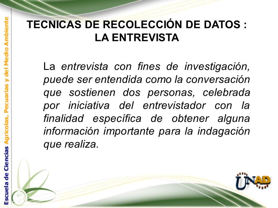 TECNICAS DE RECOLECCIÓN DE DATOS : LA ENTREVISTA La entrevista se utiliza cuando: a. Se considera necesario que exista interacción y diálogo entre el