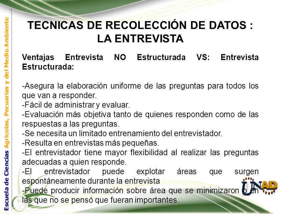 TECNICAS DE RECOLECCIÓN DE DATOS : LA ENTREVISTA TIPOS DE ENTREVISTA: 2. ENTREVISTA NO ESTRUCTURADA ES AQUELLA QUE NO NECESITA TENER POR ANTICIPADO LA