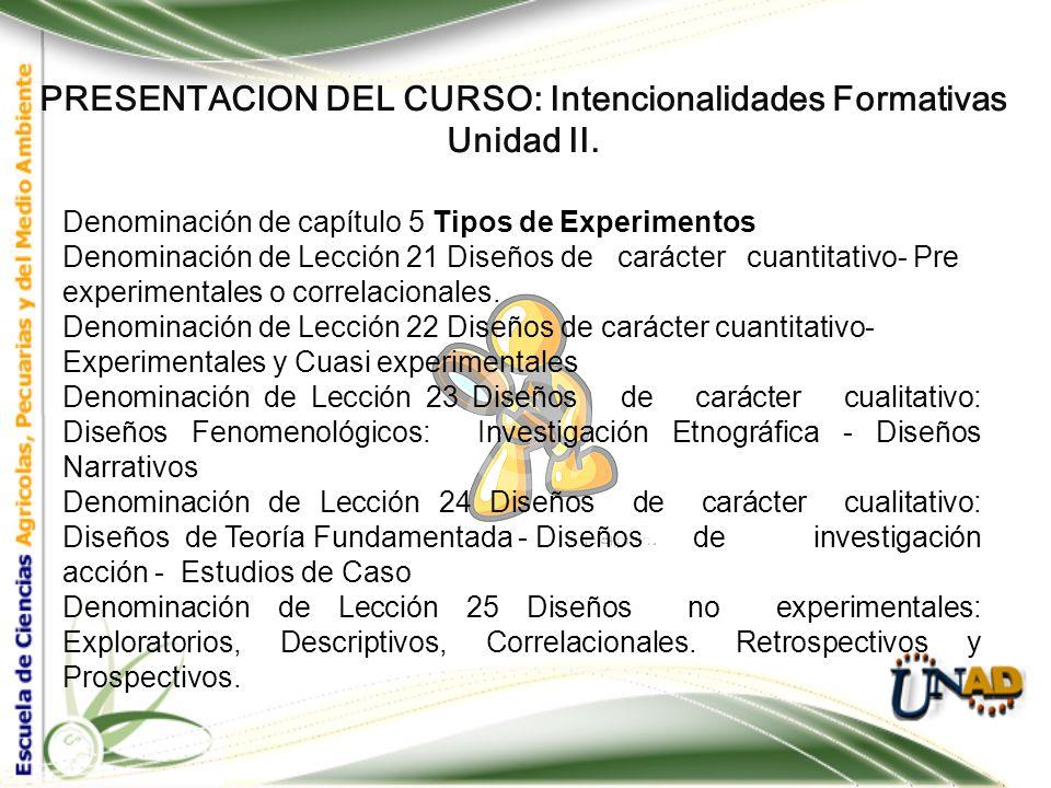 PRESENTACION DEL CURSO: Intencionalidades Formativas Unidad II. Denominación de capítulo 4 Técnicas de Recolección de datos Denominación de Lección 16