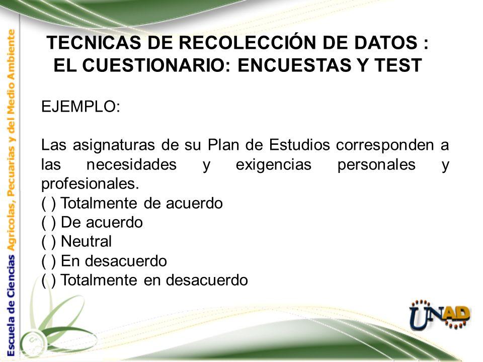 TECNICAS DE RECOLECCIÓN DE DATOS : EL CUESTIONARIO: ENCUESTAS Y TEST EJEMPLO: Por favor, marque con una X su respuesta. Ha encontrado en el Departamen
