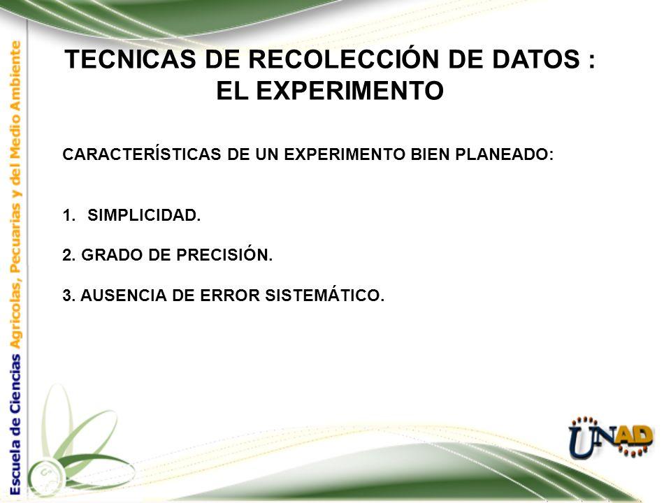 TECNICAS DE RECOLECCIÓN DE DATOS : EL EXPERIMENTO SE ENTIENDE POR VARIABLE TODO AQUELLO QUE PUEDA CAUSAR CAMBIOS EN LOS RESULTADOS DE UN EXPERIMENTO O