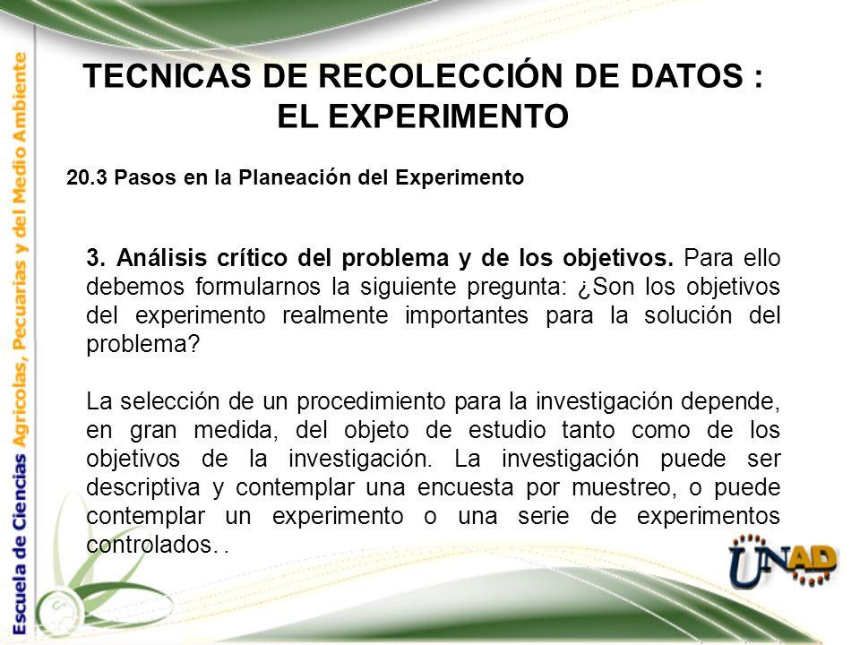 TECNICAS DE RECOLECCIÓN DE DATOS : EL EXPERIMENTO 20.3 Pasos en la Planeación del Experimento 2. Determinación de los objetivos. Estos pueden ser la f