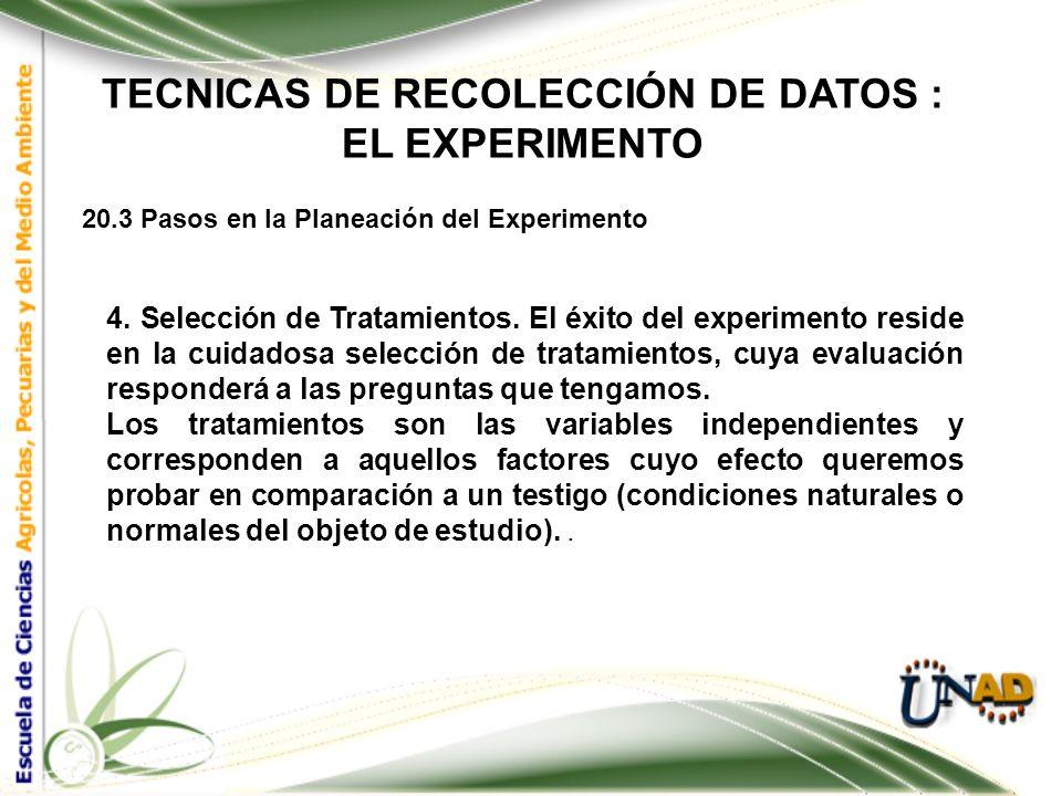 TECNICAS DE RECOLECCIÓN DE DATOS : EL EXPERIMENTO 20.3 Pasos en la Planeación del Experimento 3. Análisis crítico del problema y de los objetivos. Par