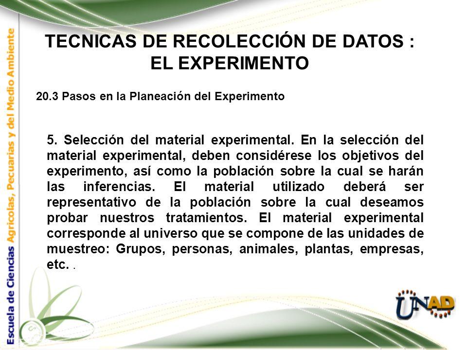 TECNICAS DE RECOLECCIÓN DE DATOS : EL EXPERIMENTO 20.3 Pasos en la Planeación del Experimento 4. Selección de Tratamientos. El éxito del experimento r