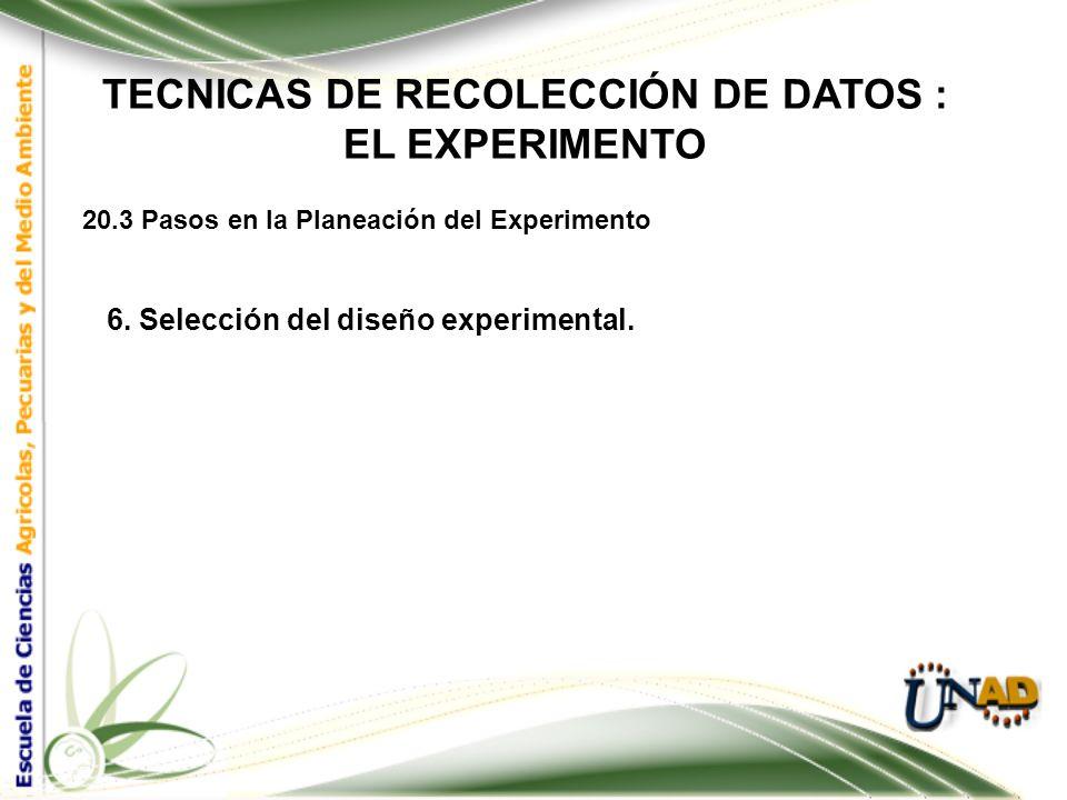 TECNICAS DE RECOLECCIÓN DE DATOS : EL EXPERIMENTO 20.3 Pasos en la Planeación del Experimento 5. Selección del material experimental. En la selección