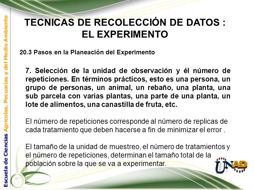 TECNICAS DE RECOLECCIÓN DE DATOS : EL EXPERIMENTO 20.3 Pasos en la Planeación del Experimento 6. Selección del diseño experimental.