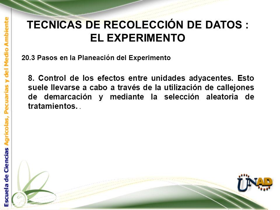 TECNICAS DE RECOLECCIÓN DE DATOS : EL EXPERIMENTO 20.3 Pasos en la Planeación del Experimento 7. Selección de la unidad de observación y él número de