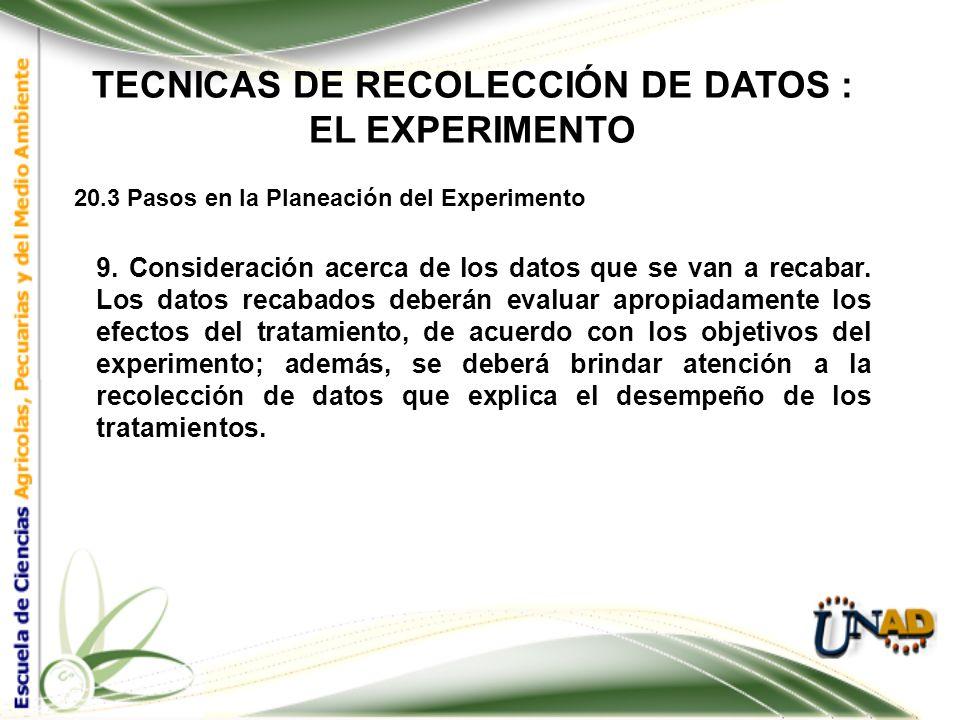 TECNICAS DE RECOLECCIÓN DE DATOS : EL EXPERIMENTO 20.3 Pasos en la Planeación del Experimento 8. Control de los efectos entre unidades adyacentes. Est