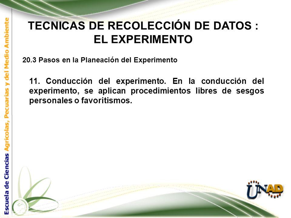 TECNICAS DE RECOLECCIÓN DE DATOS : EL EXPERIMENTO 20.3 Pasos en la Planeación del Experimento 10. Esbozo del análisis estadístico y del resumen de los