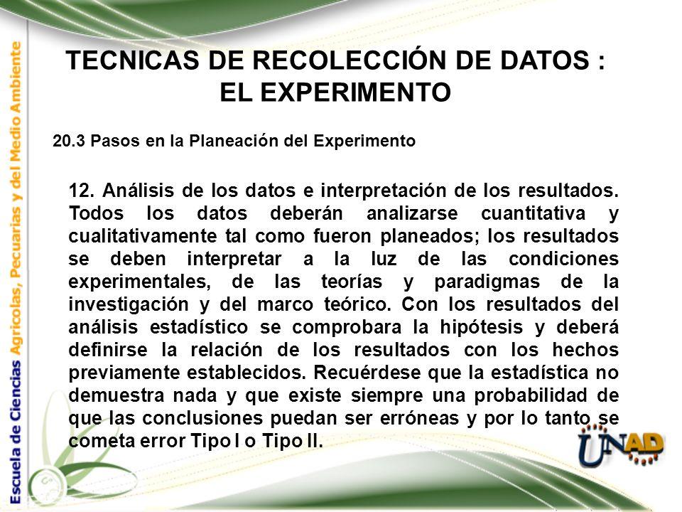 TECNICAS DE RECOLECCIÓN DE DATOS : EL EXPERIMENTO 20.3 Pasos en la Planeación del Experimento 11. Conducción del experimento. En la conducción del exp
