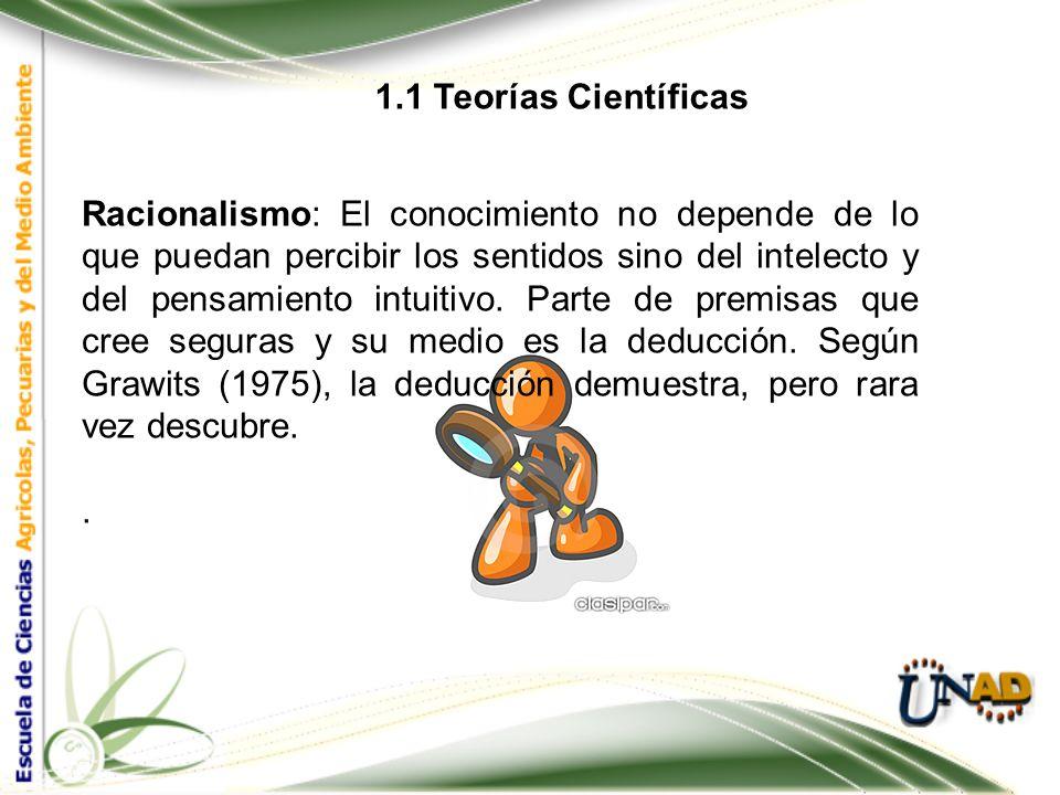 1.1 Teorías Científicas Empirismo: Según Grzegorczyk & Rojas (1967), la actividad científica comienza con la acumulación de experiencias, tras lo cual