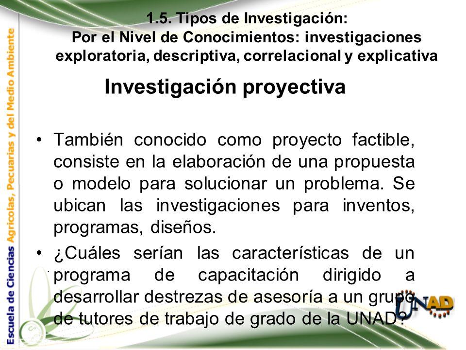 1.5. Tipos de Investigación: Por el Nivel de Conocimientos: investigaciones exploratoria, descriptiva, correlacional y explicativa. Investigación pred