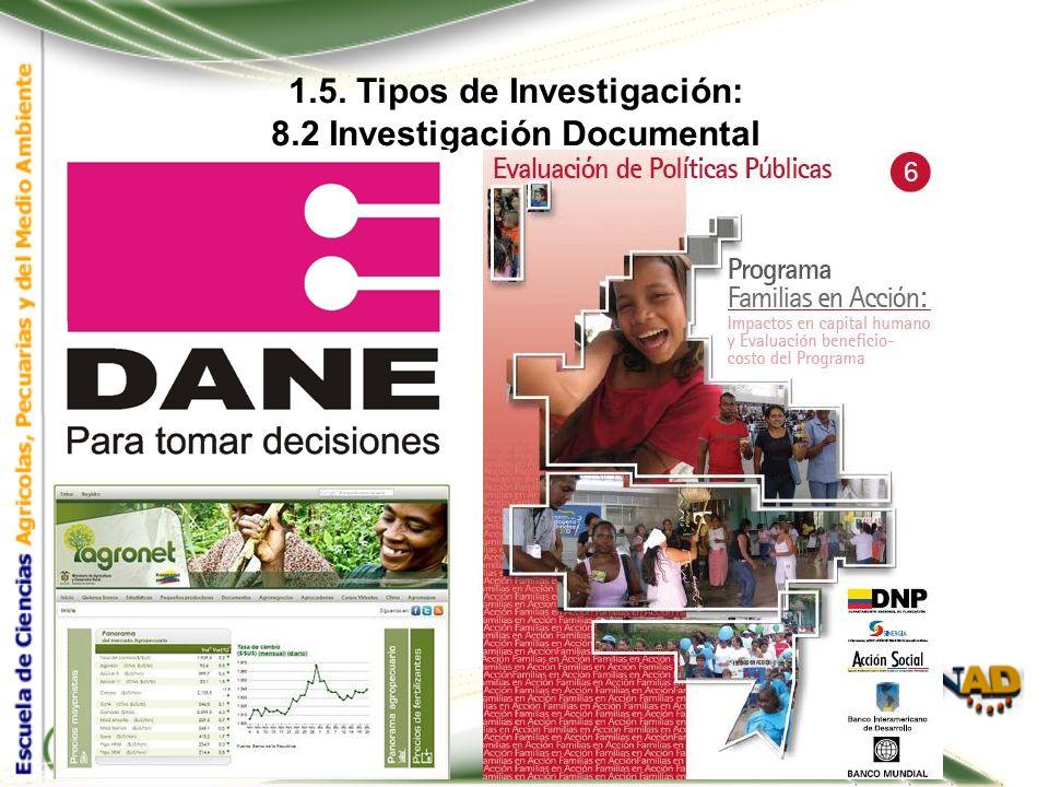 1.5. Tipos de Investigación: 8.2 Investigación Documental Las fuentes secundarias son compilaciones de fuentes primarias y se clasifican como: Secunda